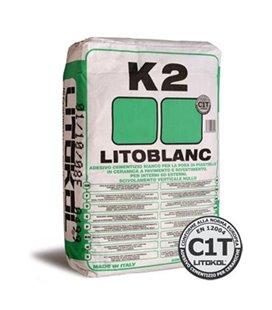 Экстрабелый клей мелкой гранулометрии с нулевым вертикальным сползанием Litokol LITOBLANC K2